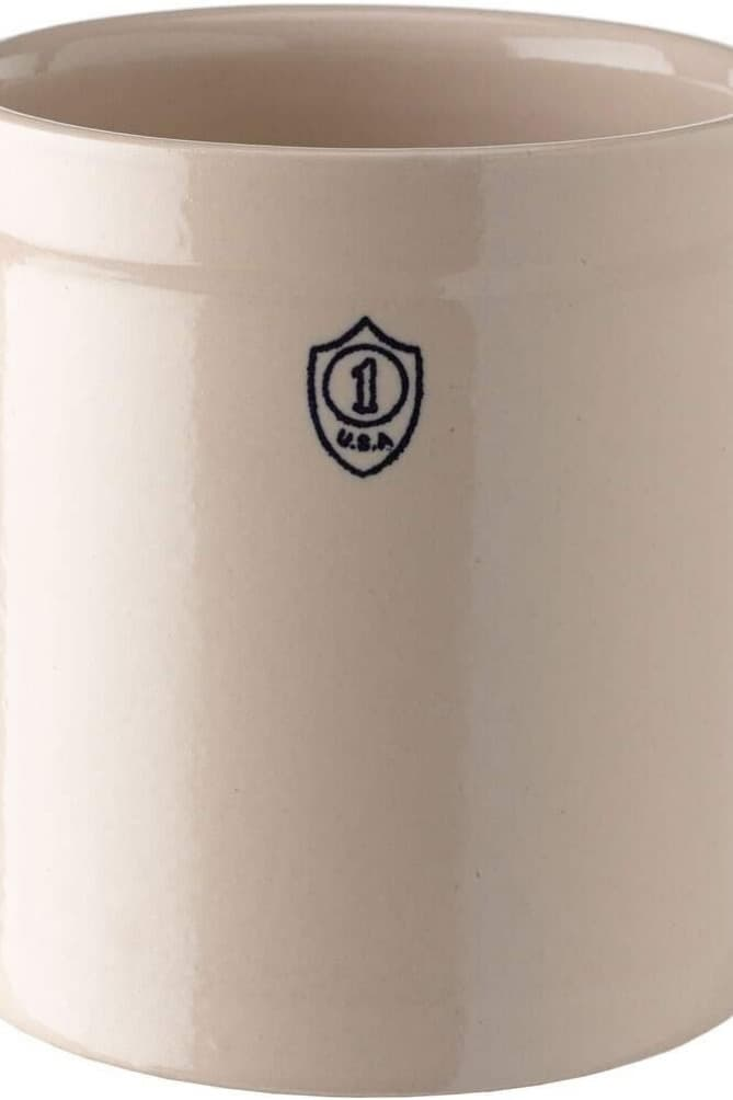 Creamy white stoneware crock for pickles and sauerkraut. | MakeSauerkraut.com