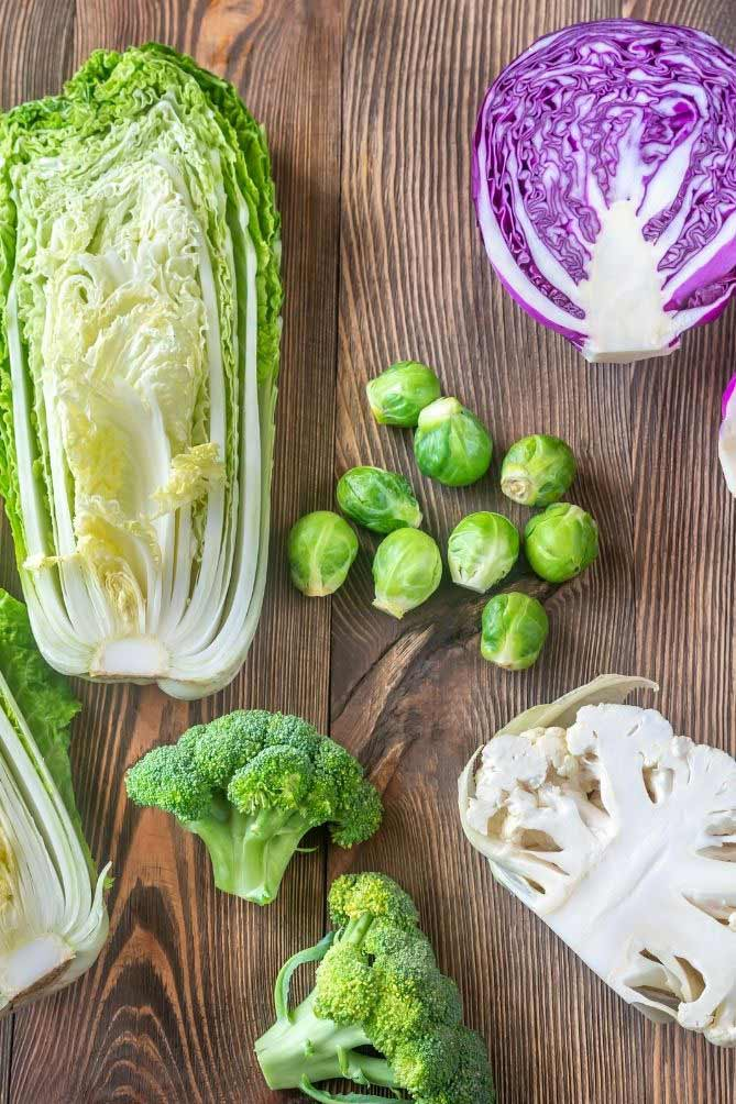 Chinese cabbage, 2 broccoli heads, half cauliflower, brussels sprouts, and half a purple cabbage laid out against wooden table. | MakeSauerkraut.com