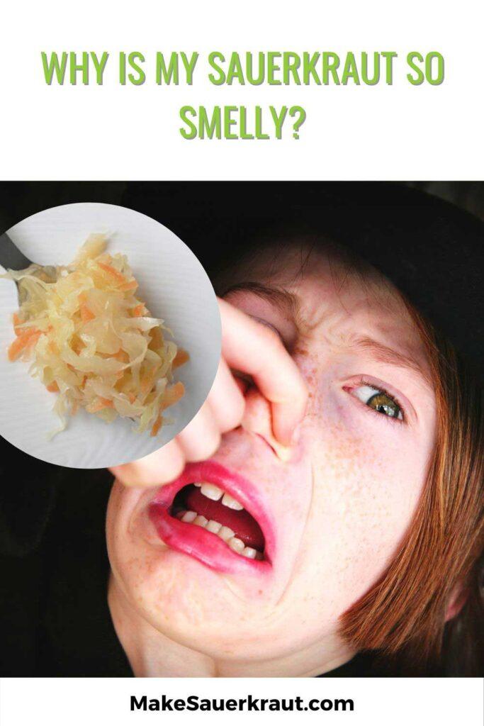 Woman with plugged nose next to serving of sauerkraut. | MakeSauerkraut.com